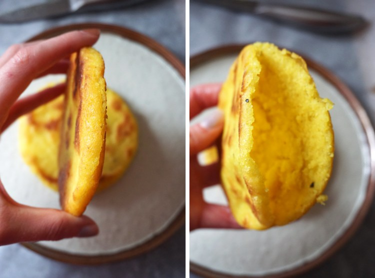 Gluten free arepas making process - arepa with an opening sliced into it