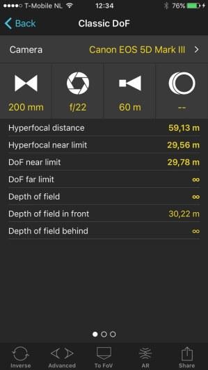 Hypefocale afstand van 200mm brandpunt op een fullframe camera. Hoewel de hypefocale afstand wel bestaat, is de bruikbaarheid beperkt of niet aanwezig. (screenshot van de App PhotoPills