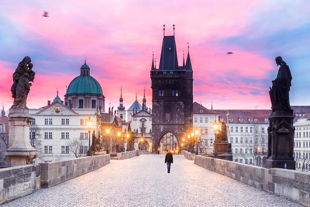 Karluv Most in Prague at dawn  Good Evening from Prague
