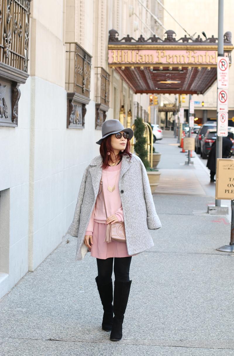 pink-dress-gray-coat-vionic-shoes-boots-6