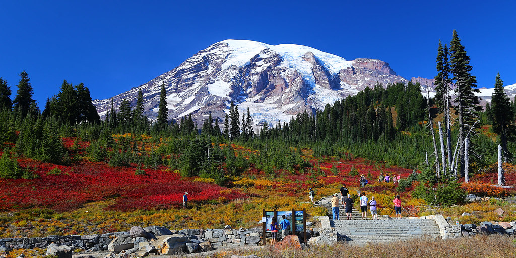 Free 3d Fall Wallpaper Mt Rainier Autumn I Hikers Enjoying The Fall Colors On