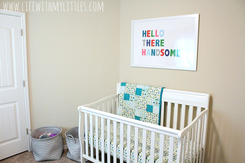 Baby boy's nursery reveal! An adorable, minimalist nursery with bright colors, felt balls, and DIY felted words.