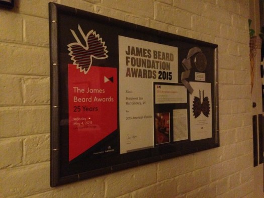 James Beard Award at Beaumont Inn, Harrodsburg KY
