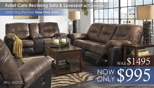 Follet Cafe Reclining Sofa & Loveseat 65202