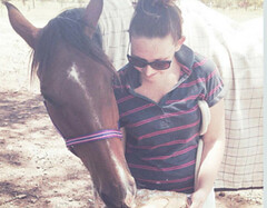 Alyssa Knee with her Lordotic Horse, Spike