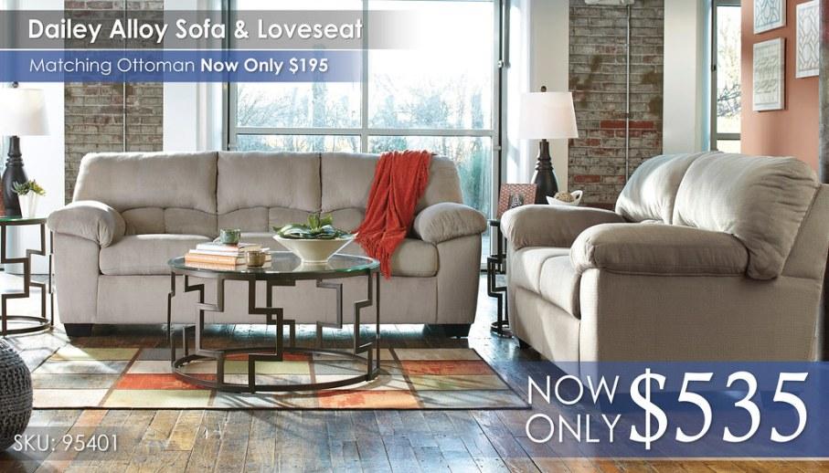 Dailey Alloy Sofa & Loveseat 95401