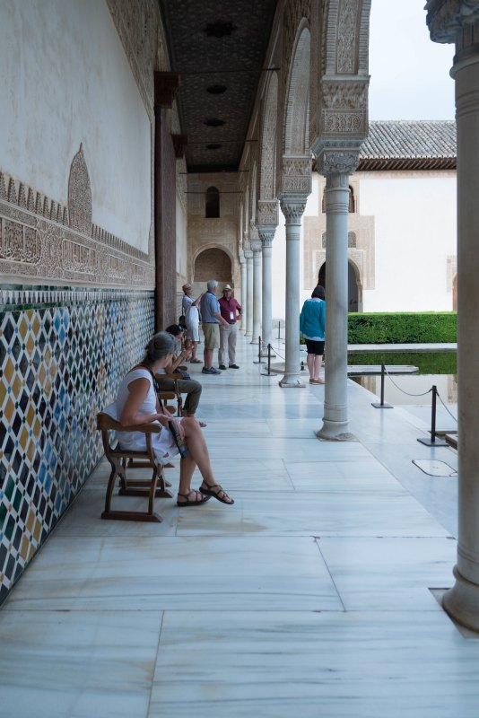 Tourist resting in Alhambra Granada Spain