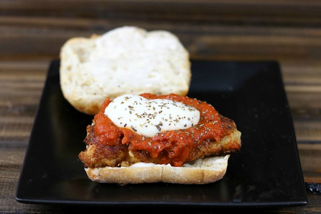 Chicken Parm Sammich Open