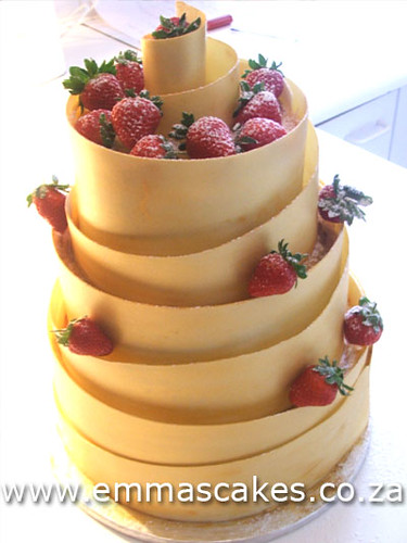 Gold spiral wedding cake  3 Tier wedding cake with white ch  Flickr