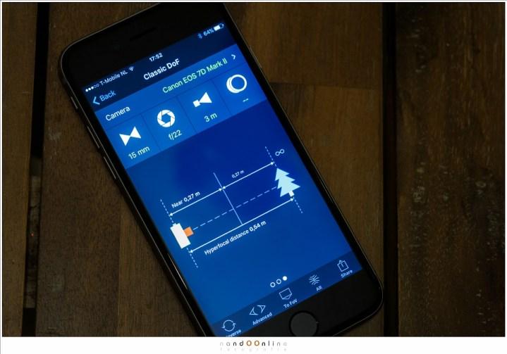 Hyperfocale afstand uitrekenen met een app op een smartphone. Maar dan moet dit ingesteld worden op de camera. Hoe dit moet leg ik uit in mijn artikel