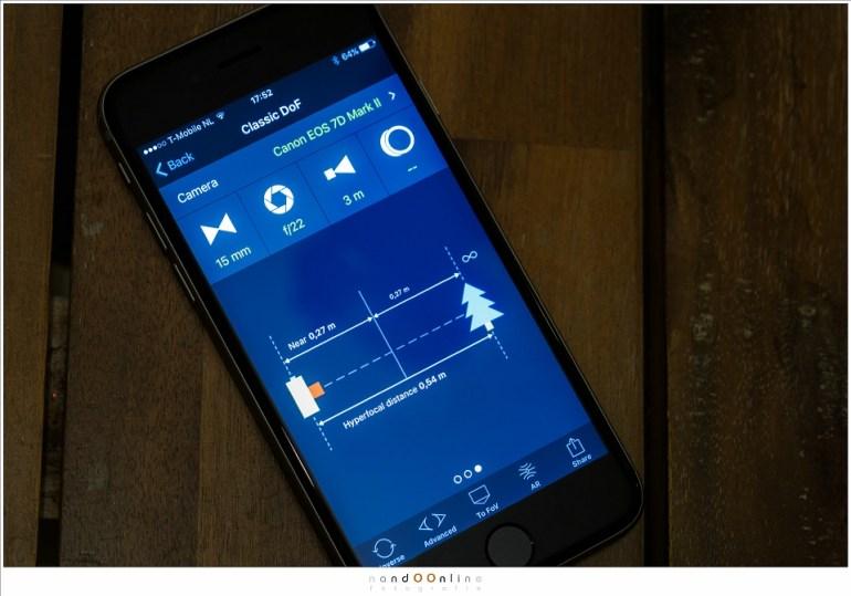 Hyperfocale afstand berekend met een App. Hiermee behaal je de maximaal mogelijke scherptediepte.