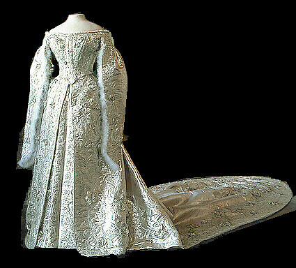 Cloth of silver gown  19th century cloth of silver gown