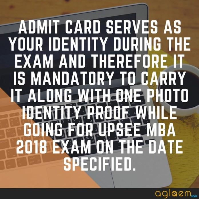 UPSEE MBA 2018 Admit Card