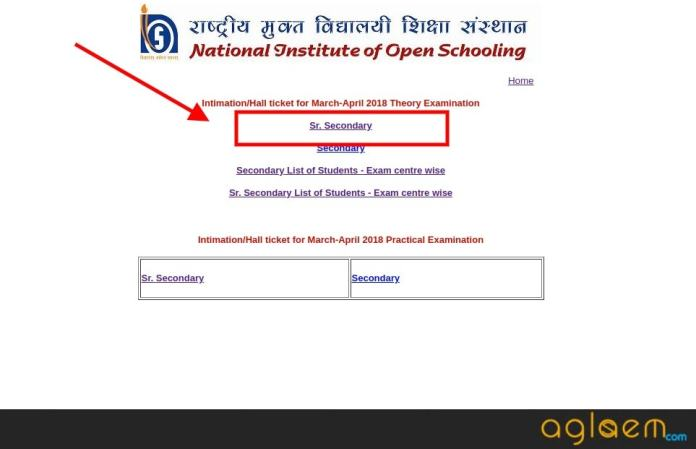 NIOS 12th Admit Card Apr 2018 and List of Students