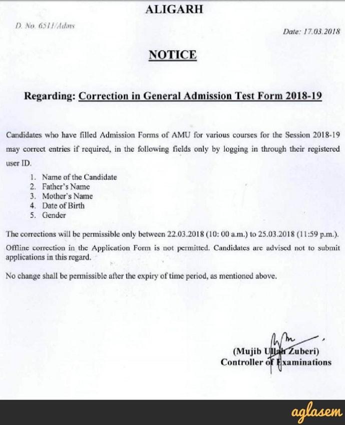AMU 2018 Application Form Correction | AglaSem Admission