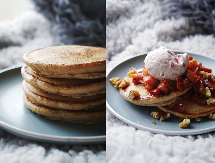 Gluten free American pancakes recipe - apple and cinnamon flavour with cooked spicy apples, walnuts and Haagen-Dazs strawberries and cream ice cream | gluten free basics | gluten free breakfast | gluten free brunch