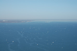 Aerial photo of boats fishing from opening day