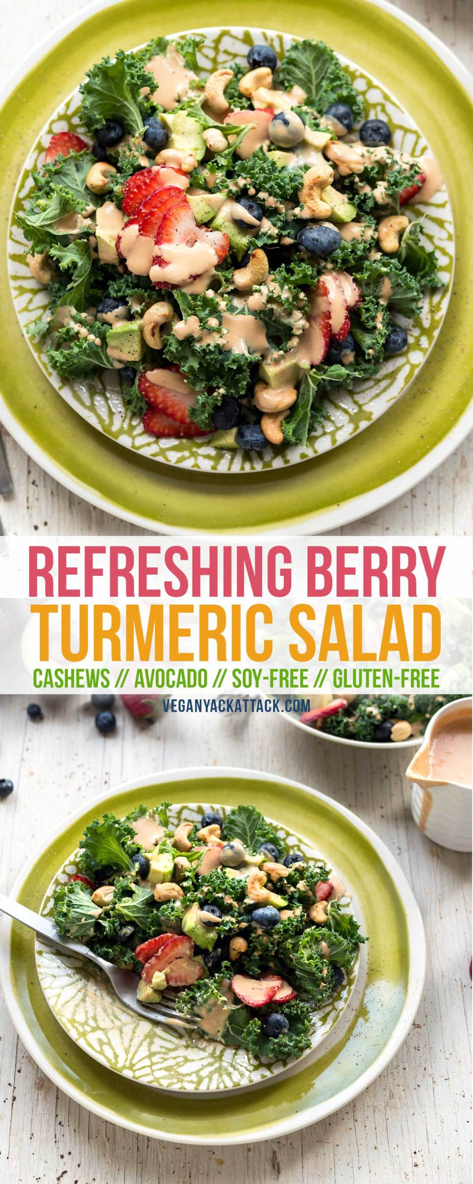 Make this Refreshing Strawberry Turmeric Salad to wow your eyes and stomach with bold colors and flavor! Easy to put together and allergy-friendly.