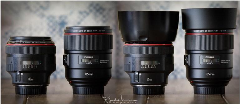 De EF 85mm f/1,2L II USM en de EF 85mm f/1,4L IS USM naast elkaar, mèt en zonder zonnekap