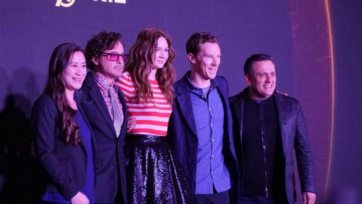 Trinh Tran, Robert Downey Jr., Karen Gillan, Benedict Cumberbatch, Joe Russo.