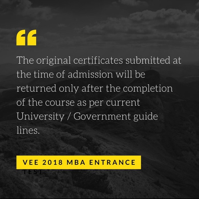 VEE 2018 MBA Entrance Exam