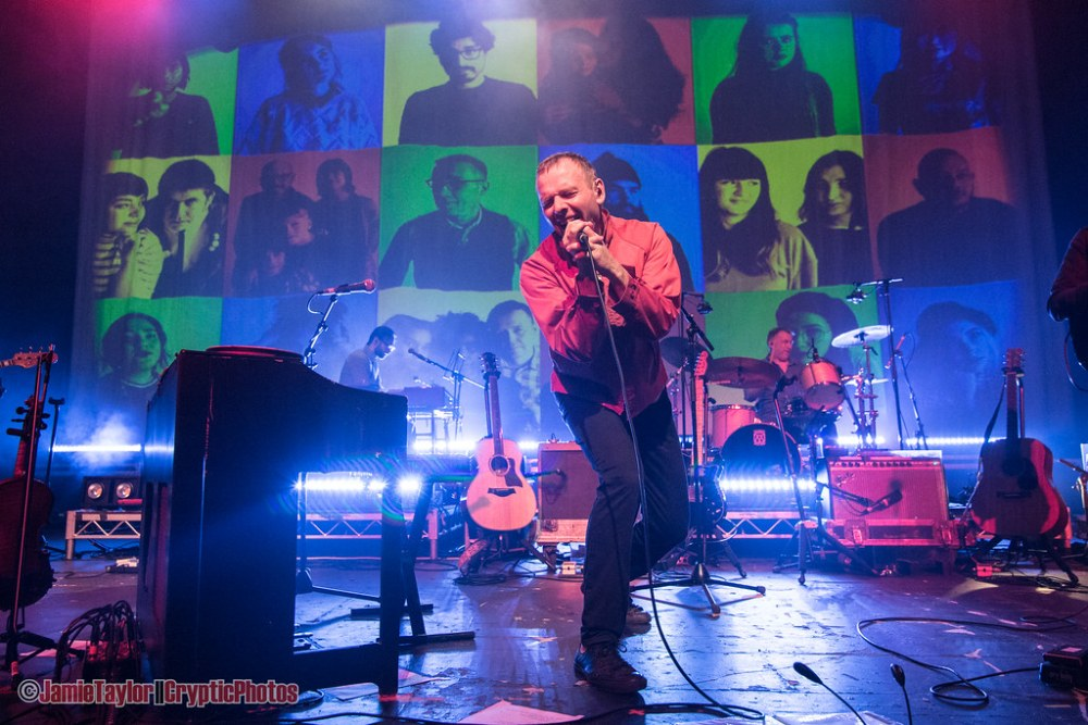 Stuart Murdoch of Belle and Sebastian performing at the Vogue Theatre in vancouver, Bc on June28th 2018
