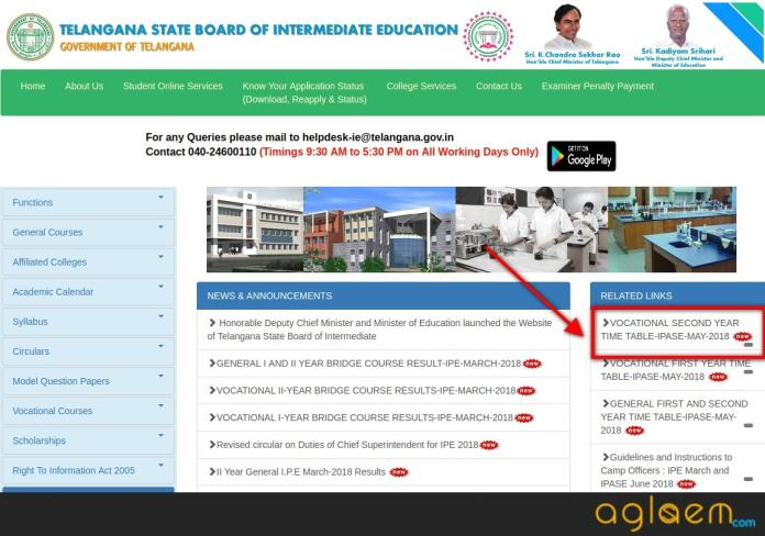 TS Inter Vocational Time table 2018