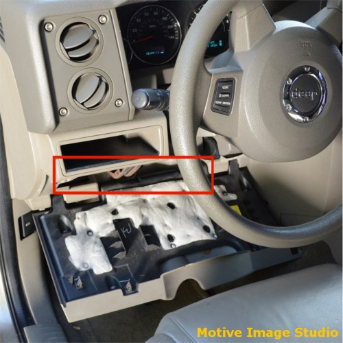 small resolution of alternately the under dash fuse set can be accessed by dropping or removing the larger driver s side knee panel the rectangle in red shows access into the