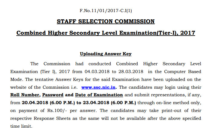 SSC CHSL 2017 Question Paper and Answer Key for exam held in Mar 2018