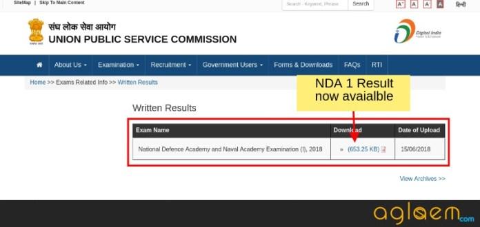 UPSC NDA 1 Result 2018