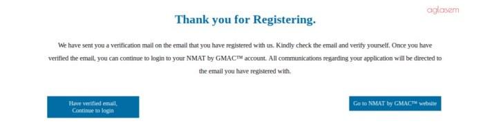 NMAT 2018 Confirmation