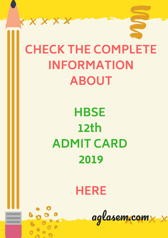 HBSE 12th Admit Card 2019