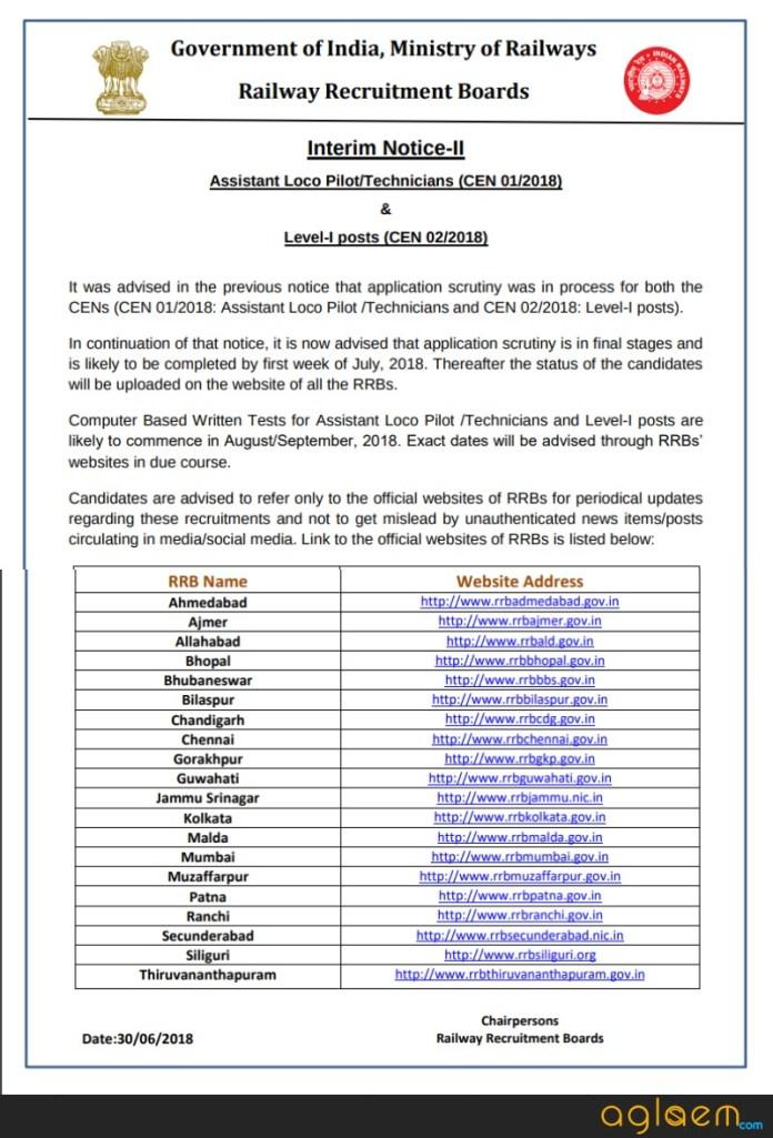 आरआरबी आवेदन स्थिति 2018 जुलाई में उपलब्ध होगी और परीक्षा अगस्त / सितंबर 2018 में आयोजित की जाएगी।