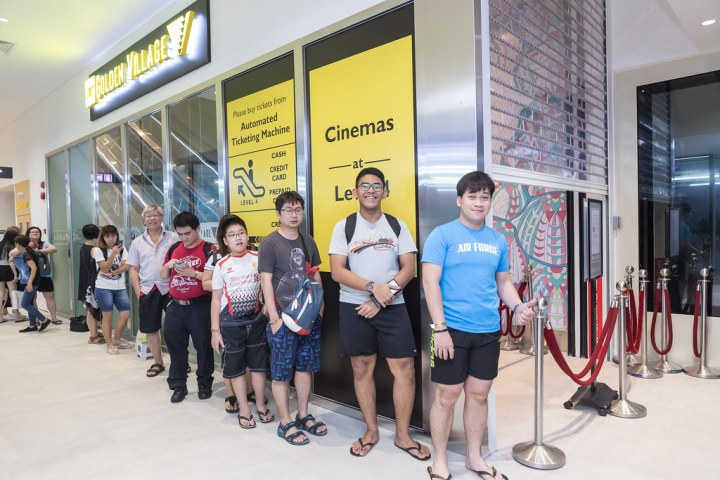 A long queue had already formed before the cinema opened its shutters at 9.05am. Photo: Golden Village