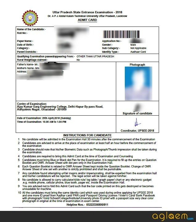 UPTU MBA 2019 Admit Card Sample