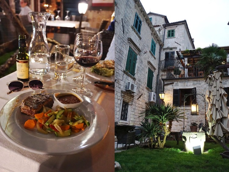 Steak, vegetables and tomato and bell pepper sauce from Luna Rossa in Kotor Old Town | My gluten free experience in MONTENEGRO