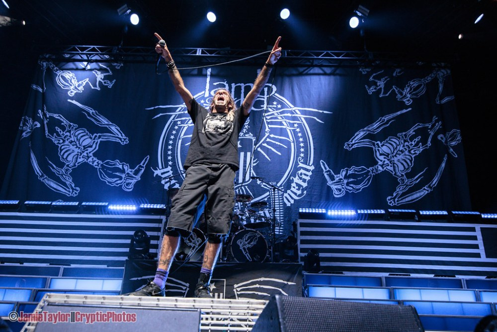 Randy Blythe of Lamb of God performing at the Pacific Coliseum in Vancouver, BC on May 17th, 2018