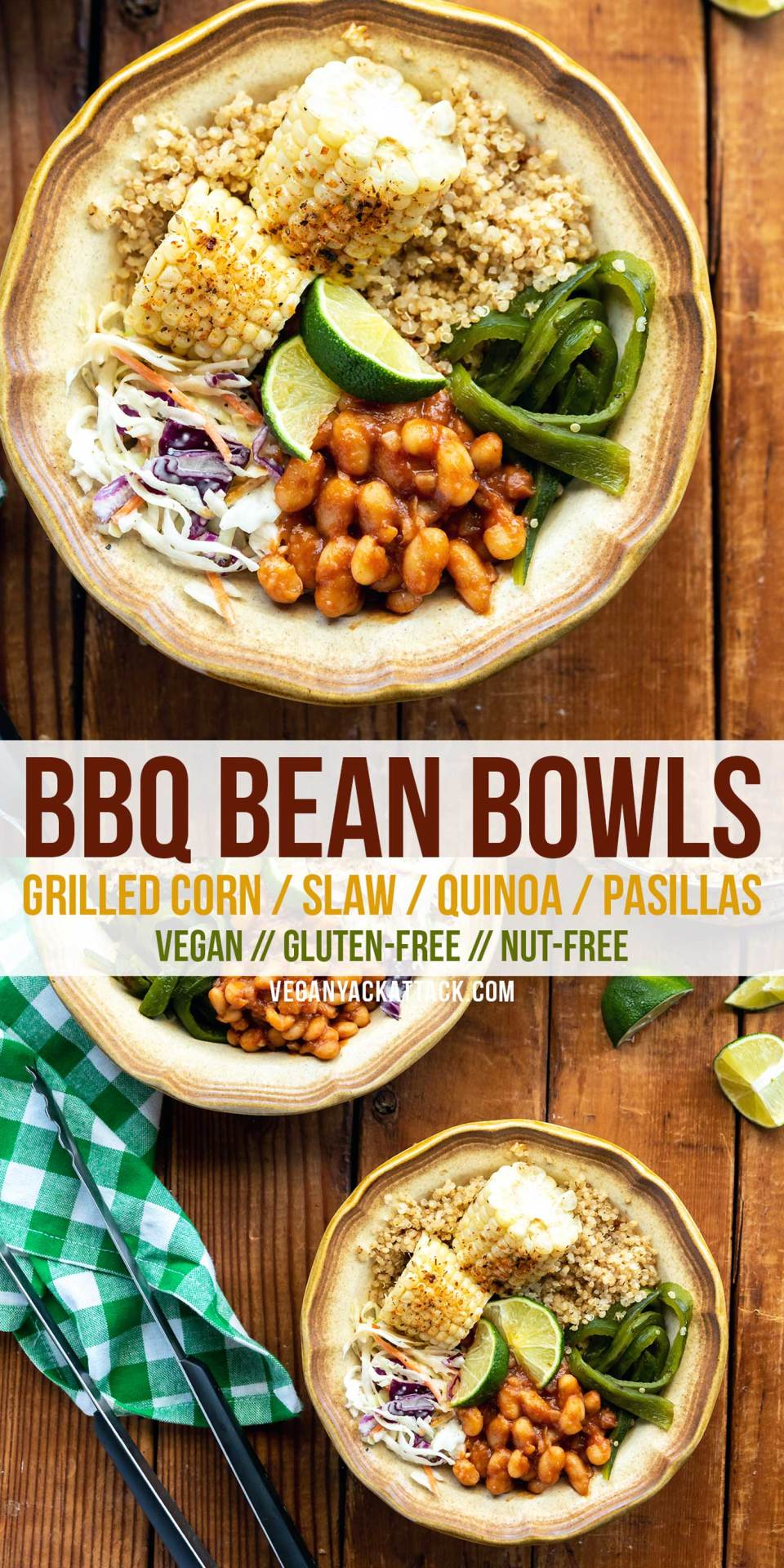 Just in time for summer, these #vegan BBQ Bean Bowls are a sampler of everything you love at a cookout! Grilled corn and pasilla peppers, coleslaw, quick bbq beans, plus, some cumin-spiced quinoa to make it a well-rounded meal. #glutenfree #plantbased