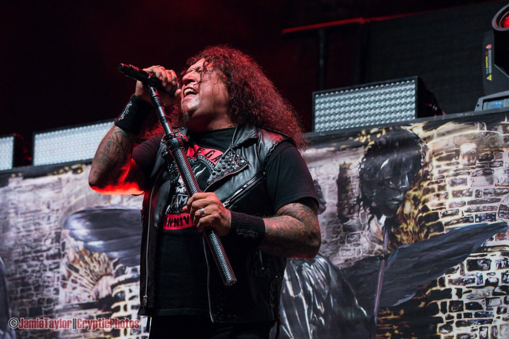 Chuck Billy of Testament performing at the Pacific Coliseum in Vancouver, BC on May 17th, 2018