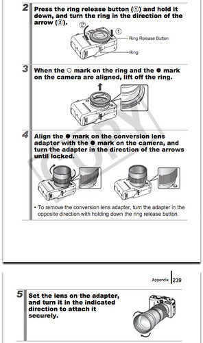 Attaching Tele-converter TC-DC58C and Conversion Lens Adap