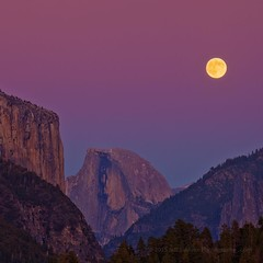 Yosemite Sunset Moon Rise by Half Dome