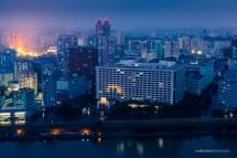 Ryugyong Hotel Pyongyang North Korea at Night
