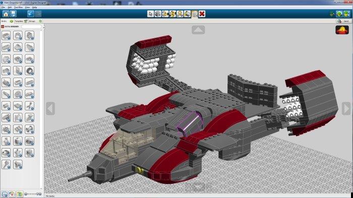 Screen shot of Lego Dropship built in Lego Digital Designer - front half done