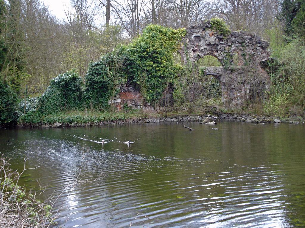 Wanstead Park grotto  Burntout stone folly beside an