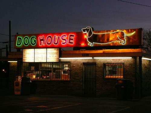 Albuquerque NM Dog House Hot Dogs at night  Look here