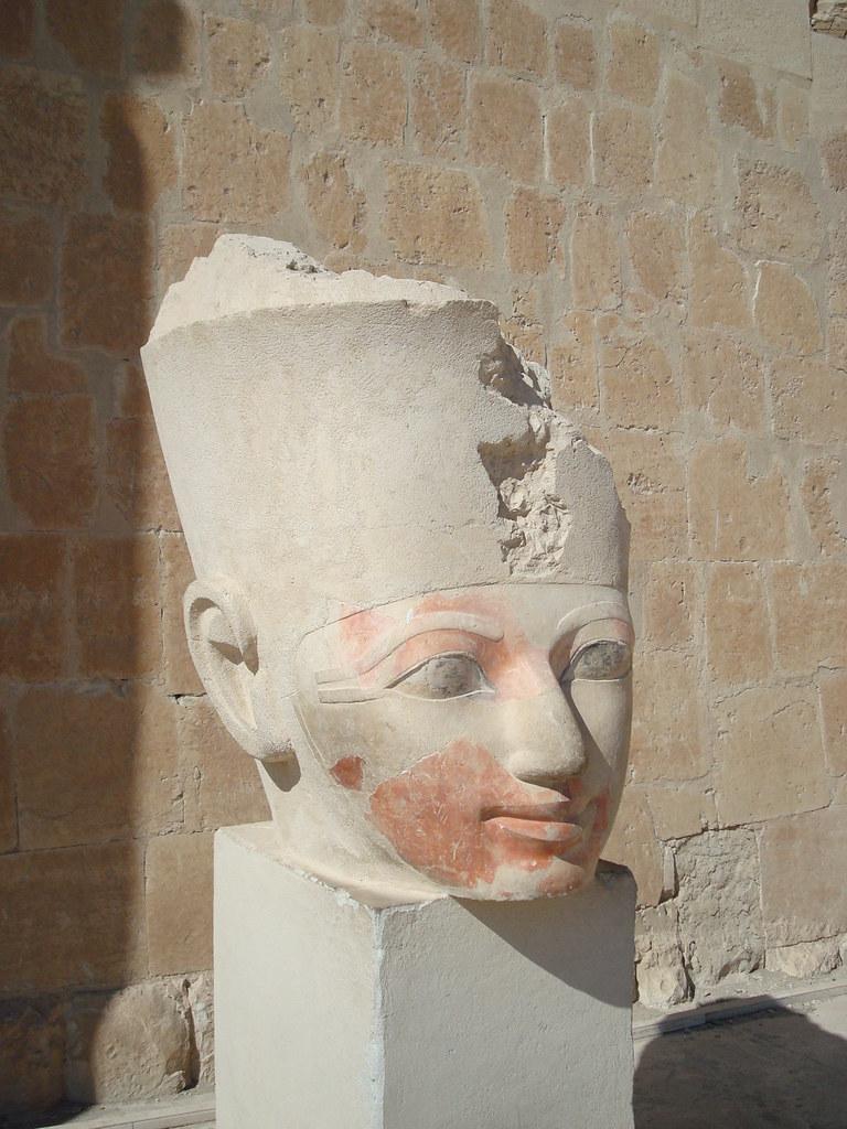 Broken Head Of A Statue Of Defaced Image Of Hatshepsut