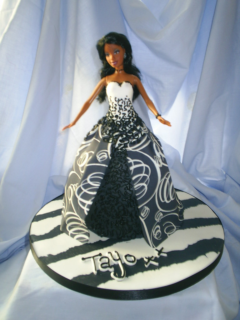 Barbie Cake For A Black And White Themed Party Sarah