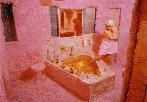 Jayne Mansfields Pink Bathroom Featuring Pink Shag