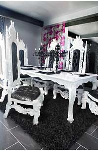 4022 GLOSS WHITE ROYAL DINING TABLE 4004 WHITE BAROQUE T