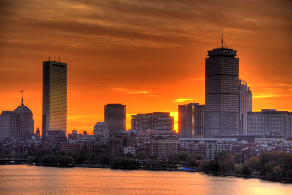 Boston sunrise  A view across the Charles River in Boston